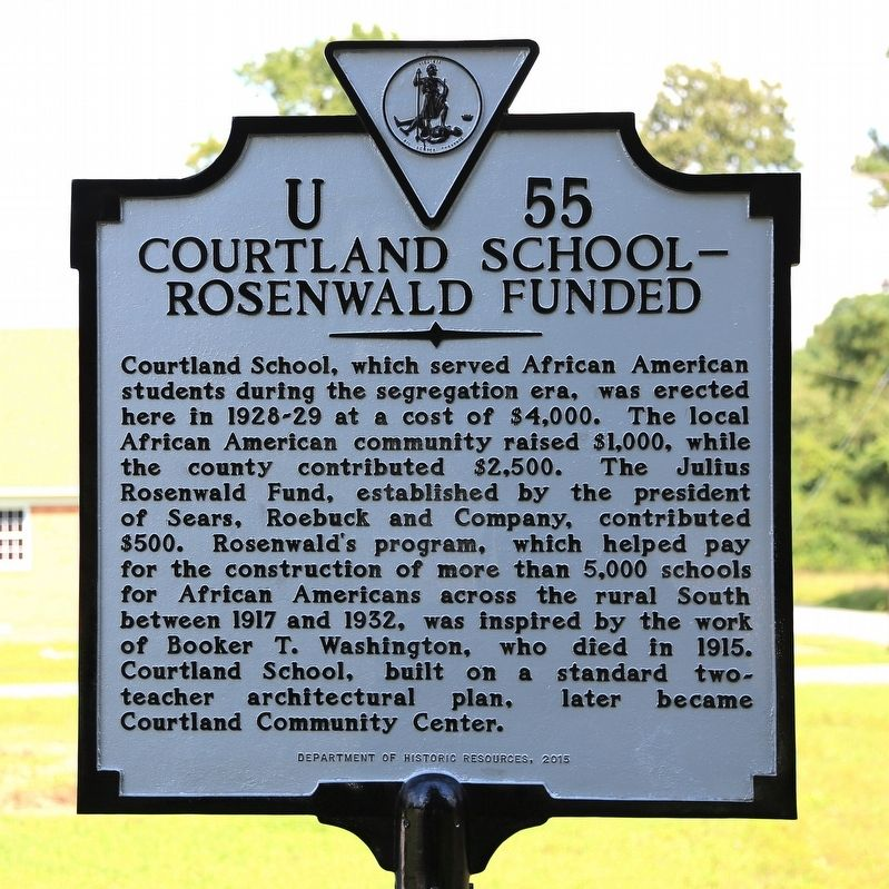 Courtland School — Rosenwald Funded Marker image. Click for full size.