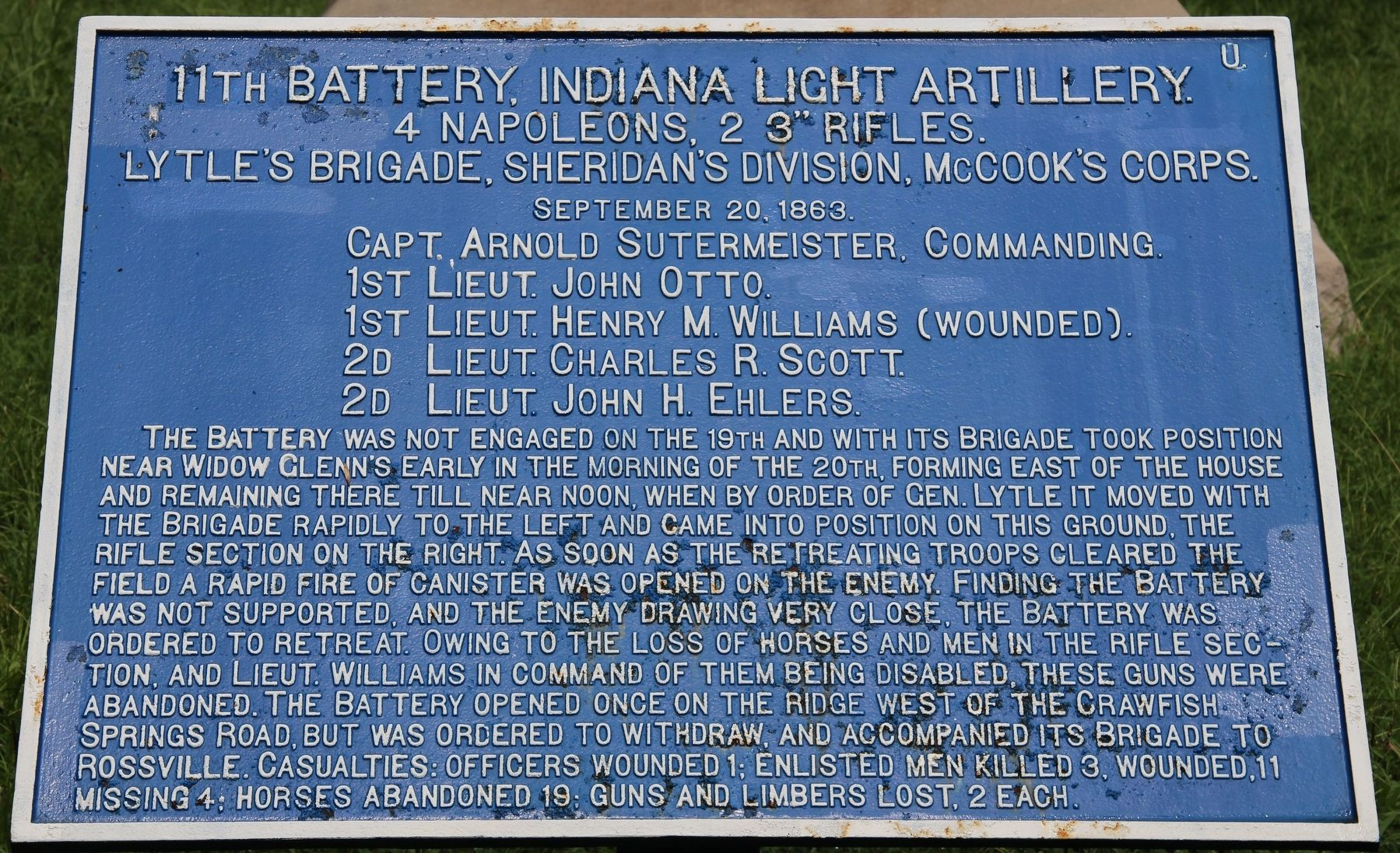 11th Battery, Indiana Light Artillery Marker image. Click for full size.