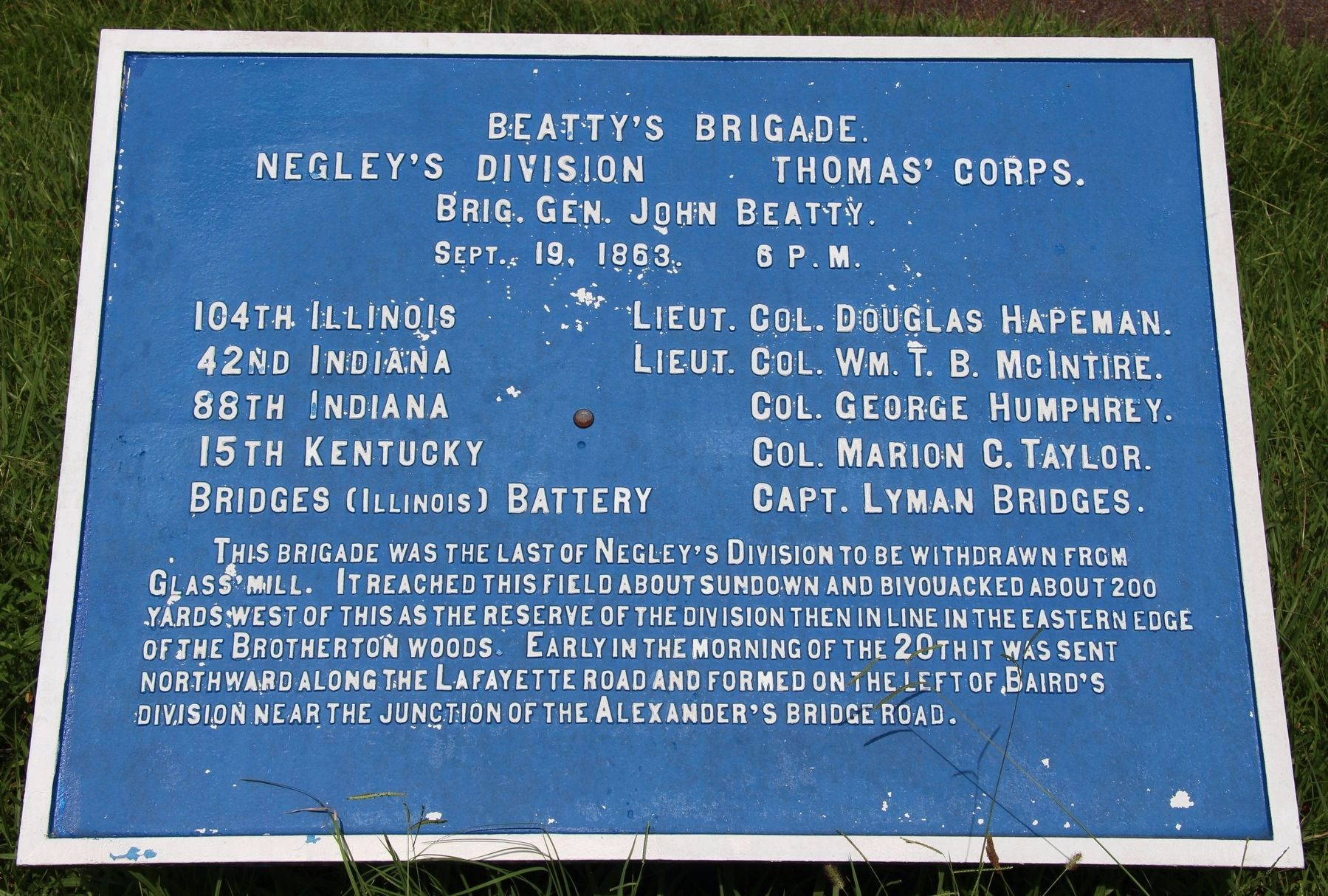 J. Beatty's Brigade Marker image. Click for full size.