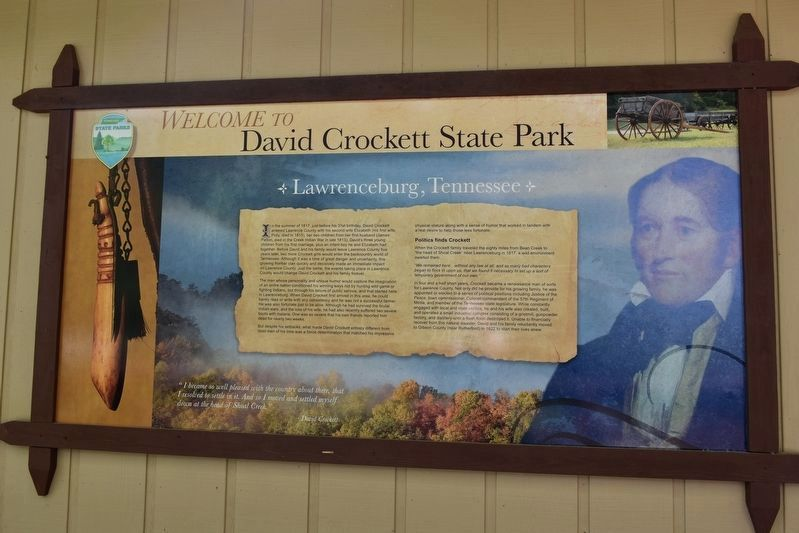Welcome to David Crockett State Park Marker image. Click for full size.