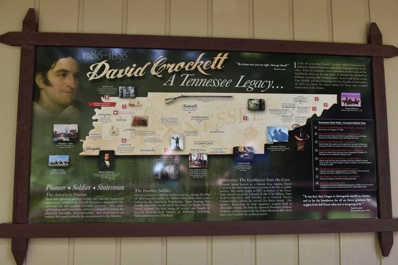 1786-1836 David Crockett a Tennessee Legacy… Marker image. Click for full size.