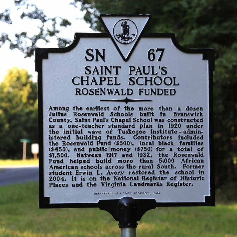 Saint Paul's Chapel School Marker image. Click for full size.