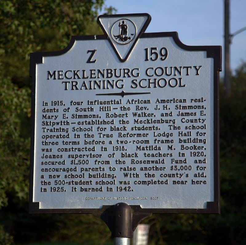 Mecklenburg County Training School Marker image. Click for full size.