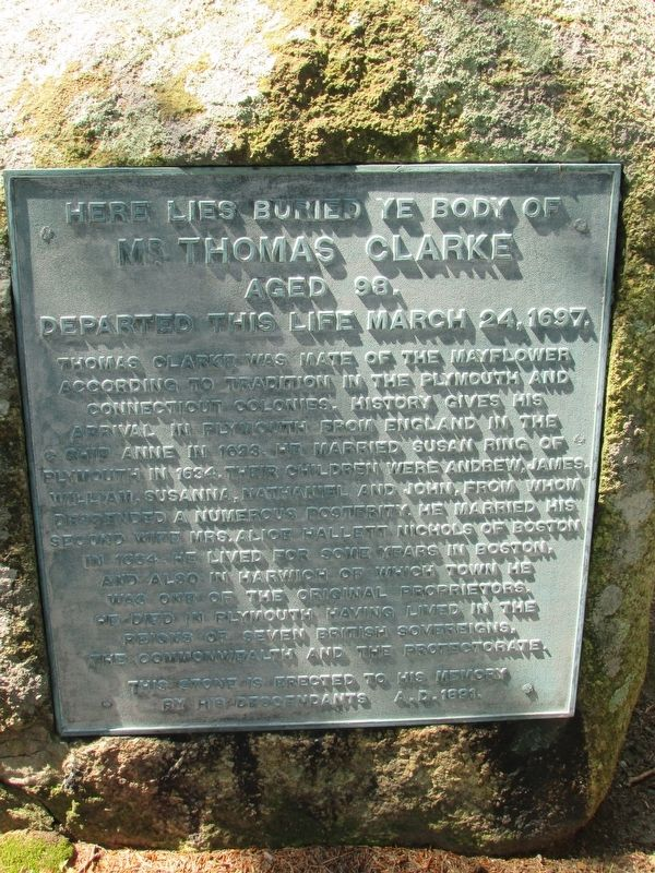 Mr. Thomas Clarke Marker image. Click for full size.