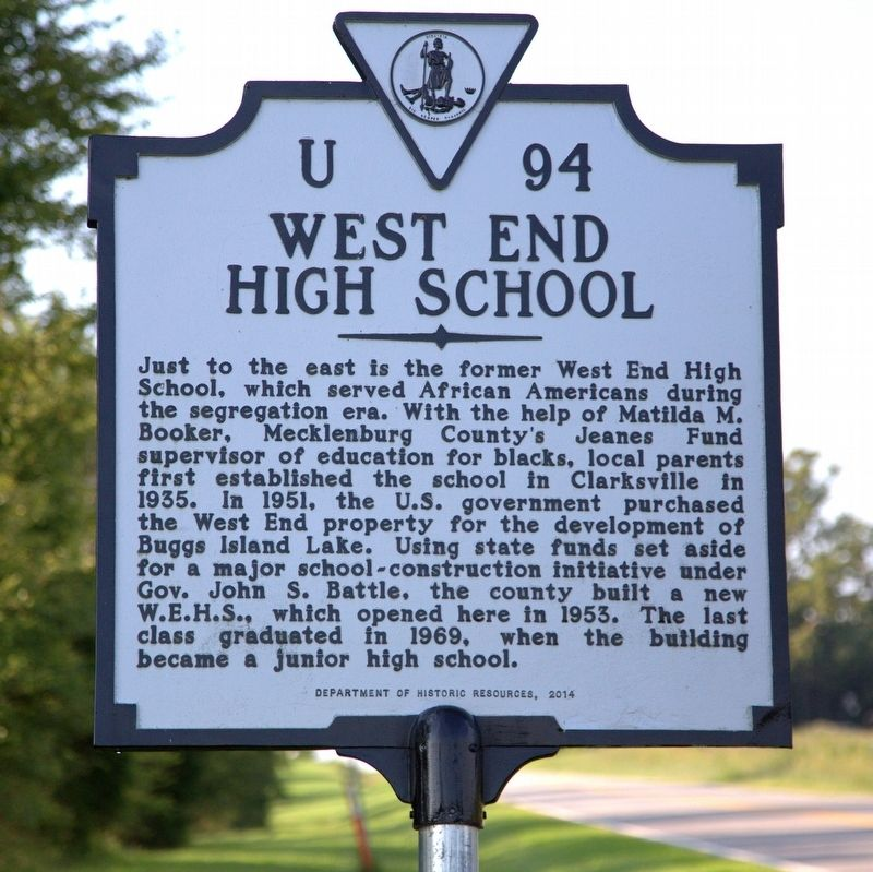 West End High School Marker image. Click for full size.