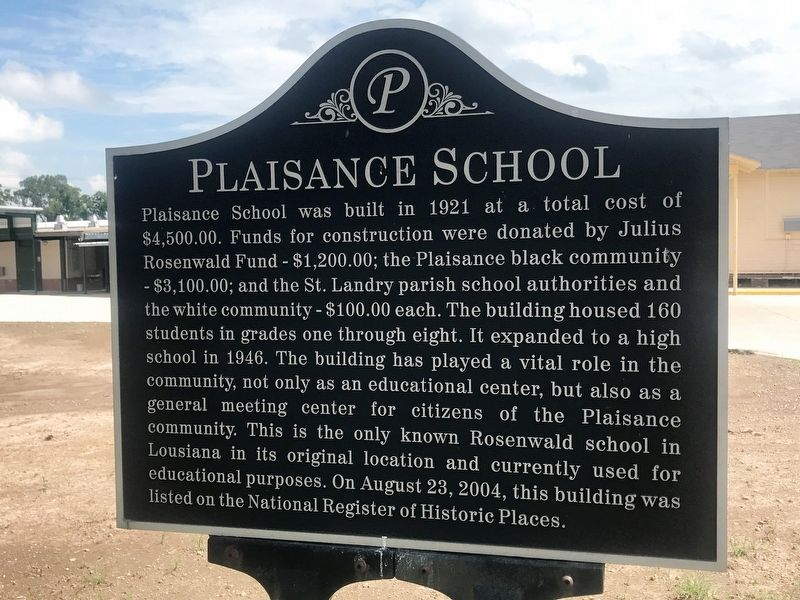 Plaisance School Marker image. Click for full size.