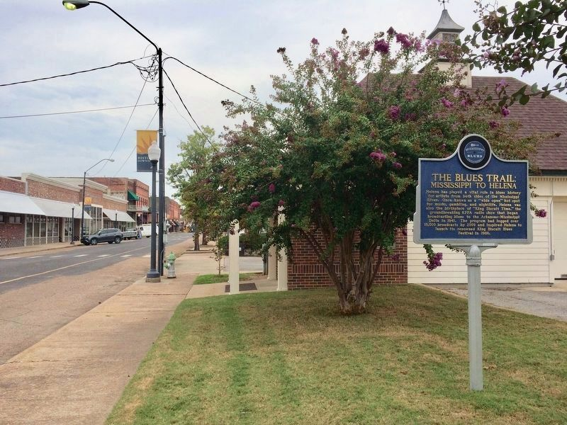 View of marker looking north on Cherry Street. image. Click for full size.