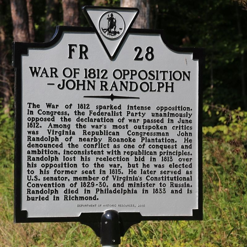 War of 1812 Opposition — John Randolph Marker image. Click for full size.