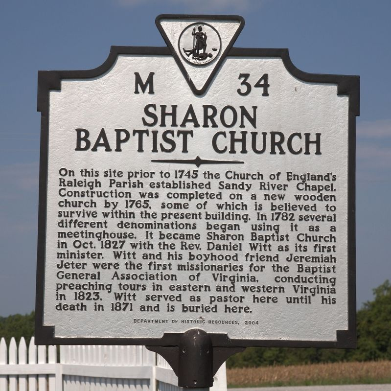 Sharon Baptist Church Marker image. Click for full size.