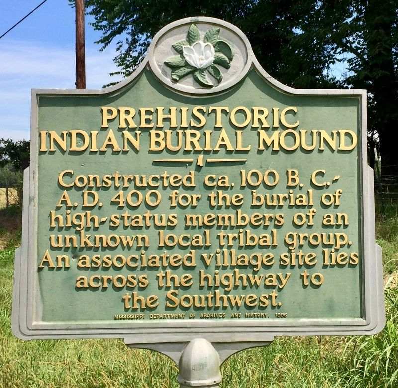 Prehistoric Indian Burial Mound Marker image. Click for full size.