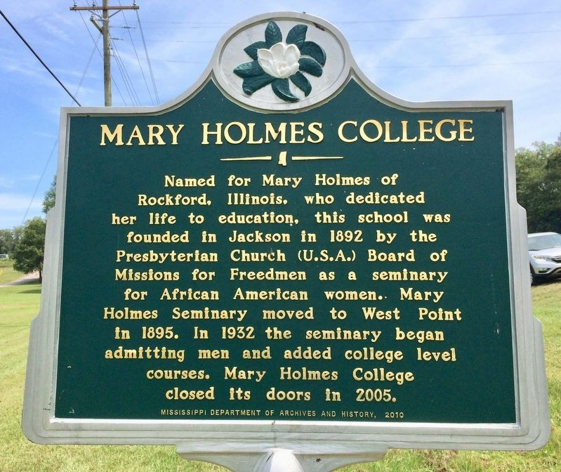 Mary Holmes College Marker image. Click for full size.