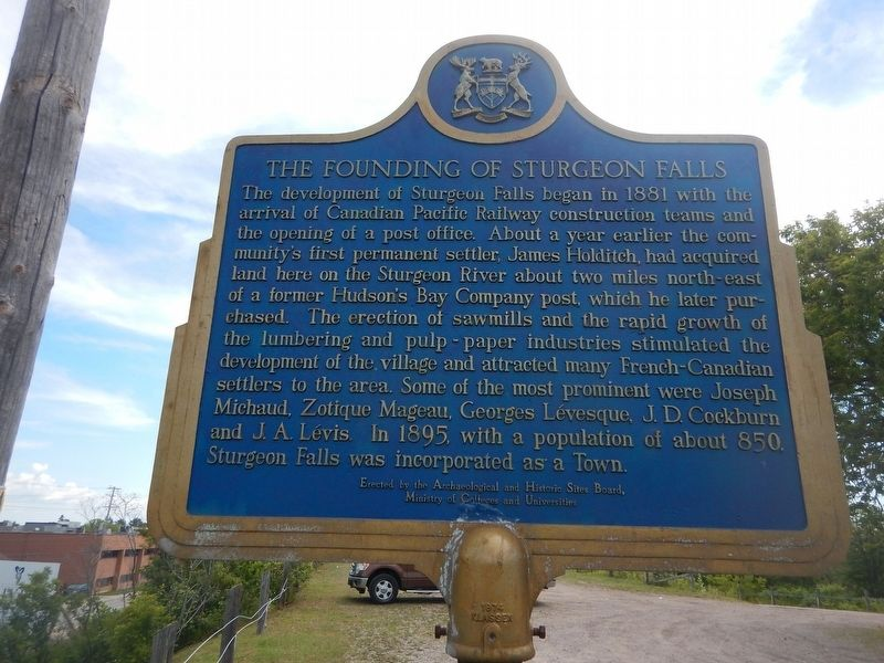 The Founding of Sturgeon Falls Marker image. Click for full size.