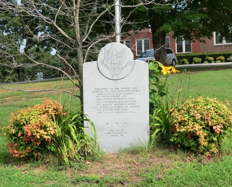 Adams War Memorial Marker image. Click for full size.