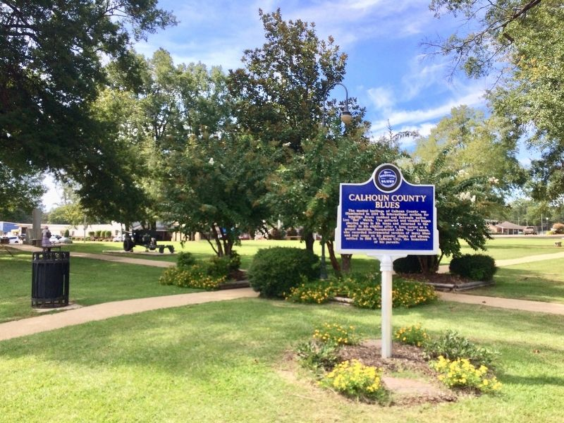 View of Calhoun County Blues marker in the Public Square. image. Click for full size.