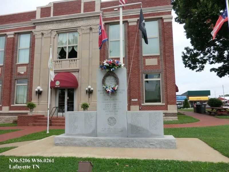 Macon County War Memorial Marker image. Click for full size.