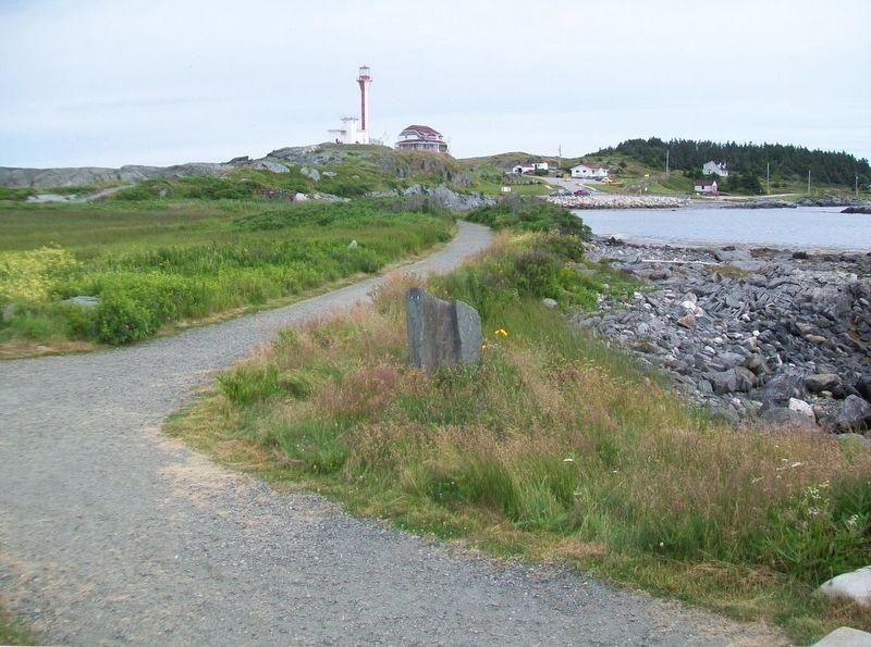 View of Cape Forchu Lightstation from A Footstep into the Harbour Marker image. Click for full size.