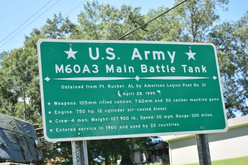 U. S. Army M60A3 Main Battle Tank Marker image. Click for full size.