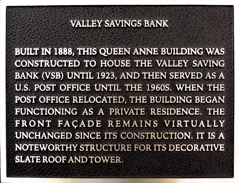 Valley Savings Bank Marker image. Click for full size.