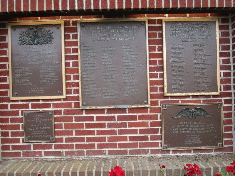 Wayne Township Veterans Memorial Tablets image. Click for full size.