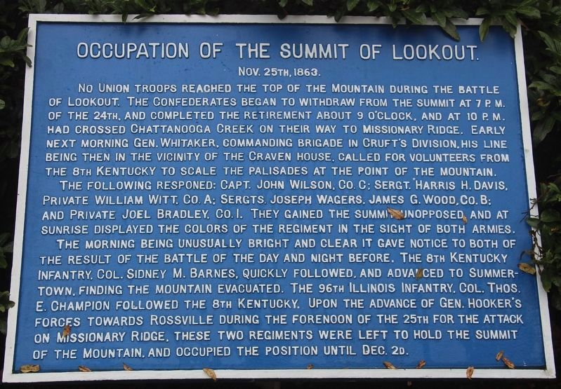 Occupation of the Summit of Lookout Marker image. Click for full size.
