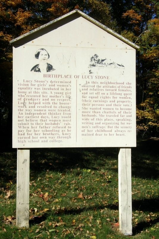 Birthplace of Lucy Stone Marker image. Click for full size.