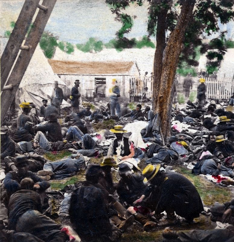 Tending the wounded after the Battle of Antietam image. Click for full size.