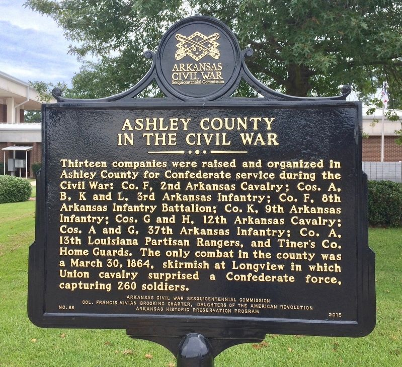 Ashley County in the Civil War Marker image. Click for full size.