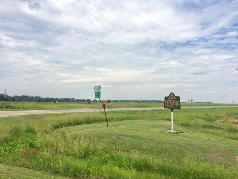 View of marker looking north on U.S. 165. image. Click for full size.