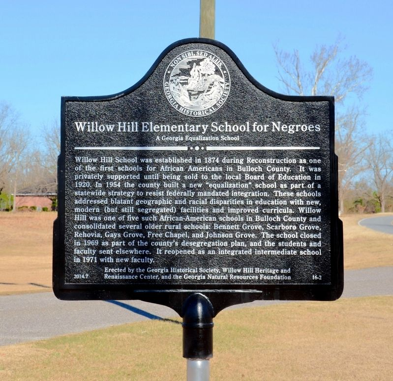 Willow Hill Elementary School for Negroes Marker image. Click for full size.