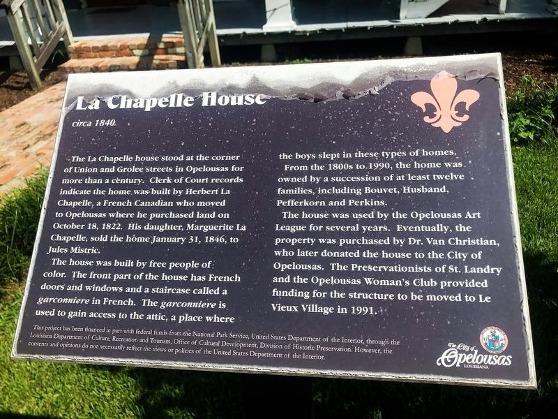 La Chapelle House Marker image. Click for full size.