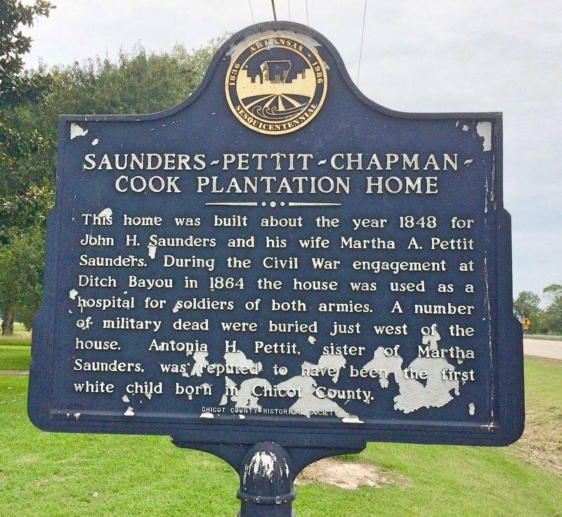 Saunders-Pettit-Chapman-Cook Plantation Home Marker image. Click for full size.