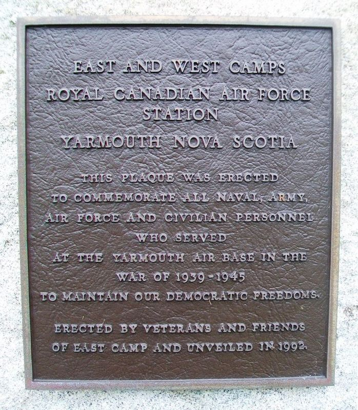 East and West Camps, RCAF Station Yarmouth Nova Scotia Marker image. Click for full size.