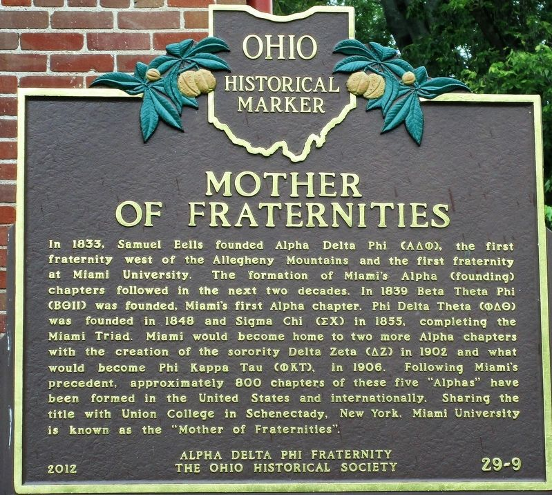 Mother of Fraternities Marker image. Click for full size.