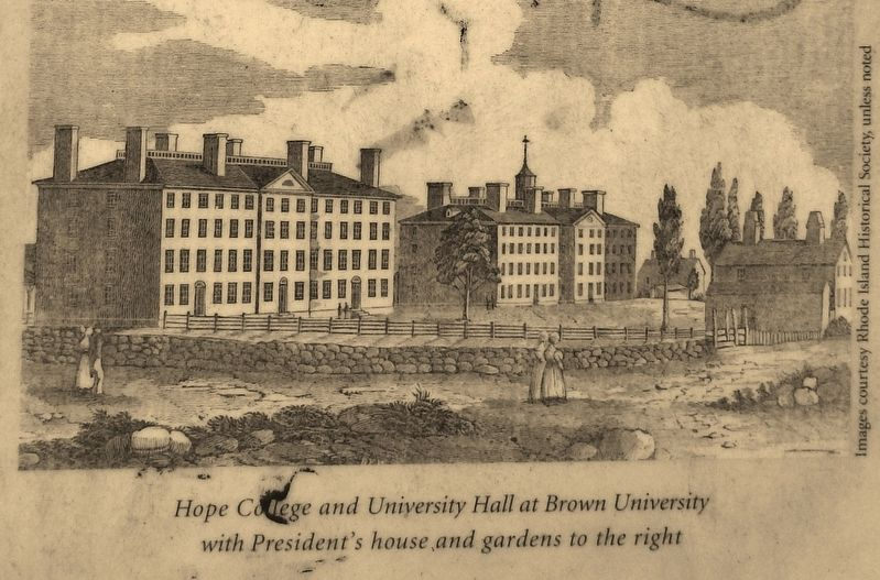 Marker Detail: Hope College and University Hall at Brown University image. Click for full size.