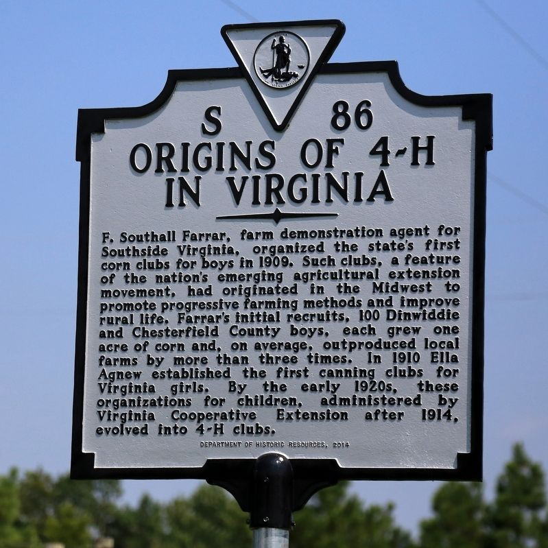Origins of 4-H in Virginia Marker image. Click for full size.