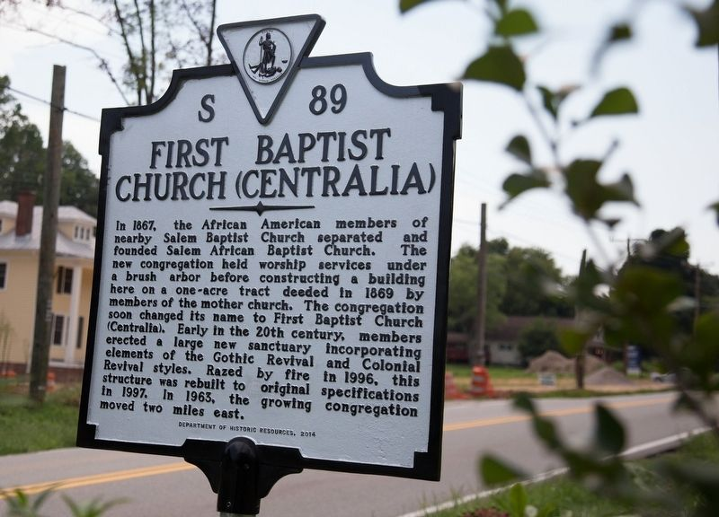 First Baptist Church (Centralia) Marker image. Click for full size.
