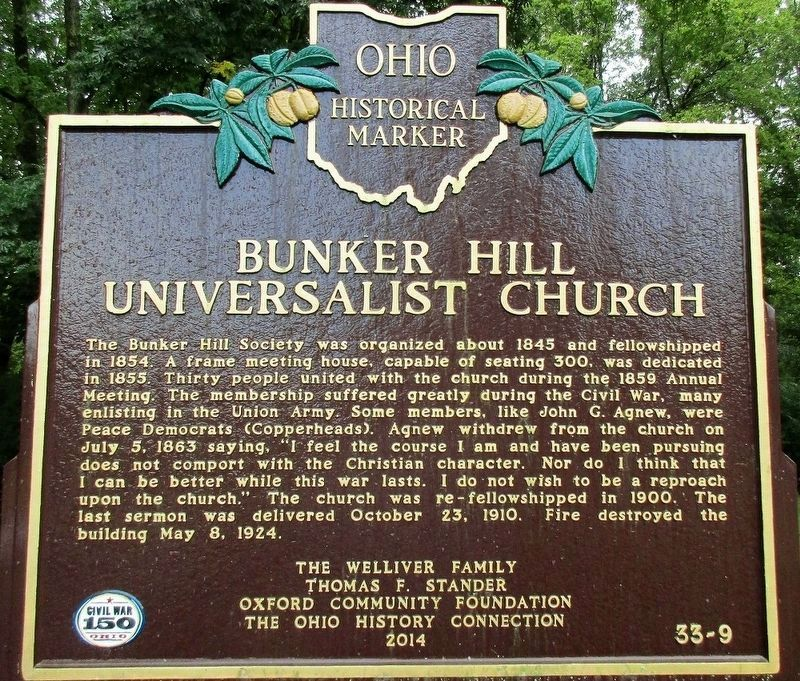 Bunker Hill Universalist Church Marker image. Click for full size.