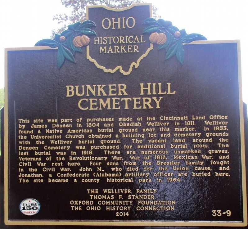 Bunker Hill Cemetery Marker image. Click for full size.