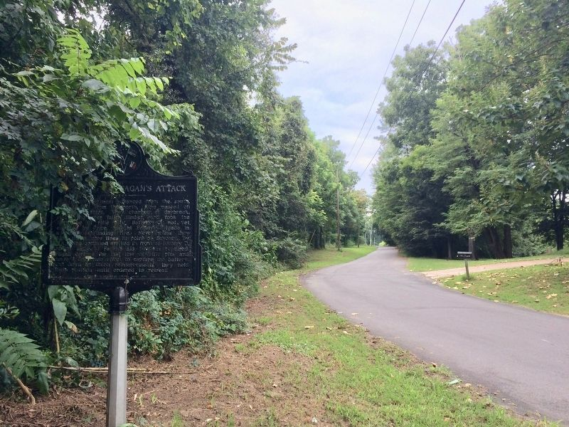 View of marker looking southwest on Military Road. image. Click for full size.