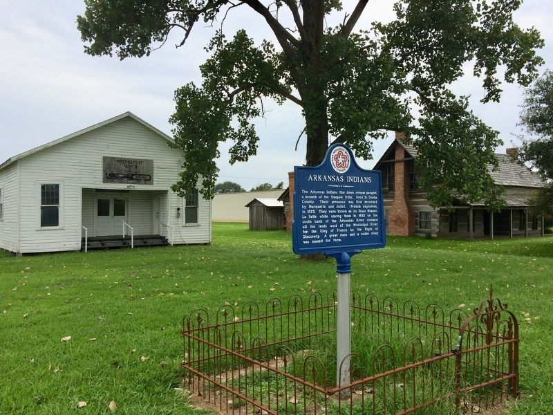 Arkansas Indians marker at Desha County Museum. image. Click for full size.