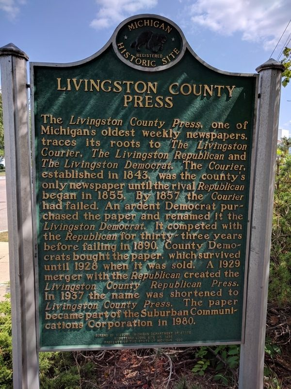 Livingston County Press Marker — Side 1 image. Click for full size.