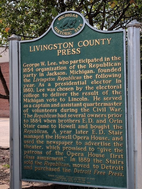 Livingston County Press Marker — Side 2 image. Click for full size.