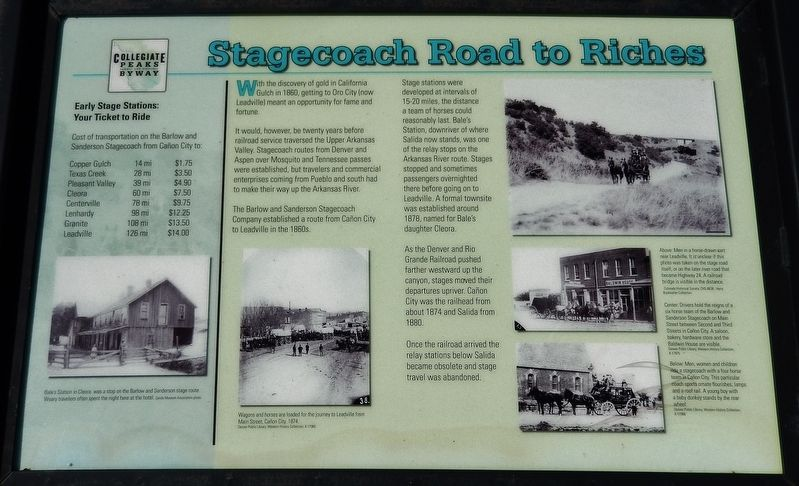 Stagecoach Road to Riches Marker image. Click for full size.