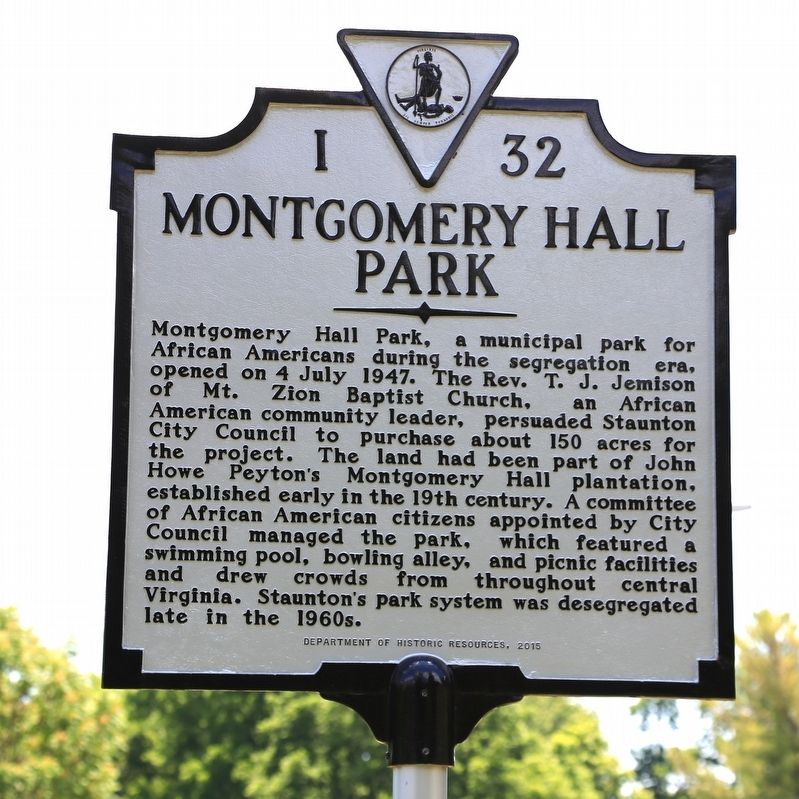 Montgomery Hall Park Marker image. Click for full size.