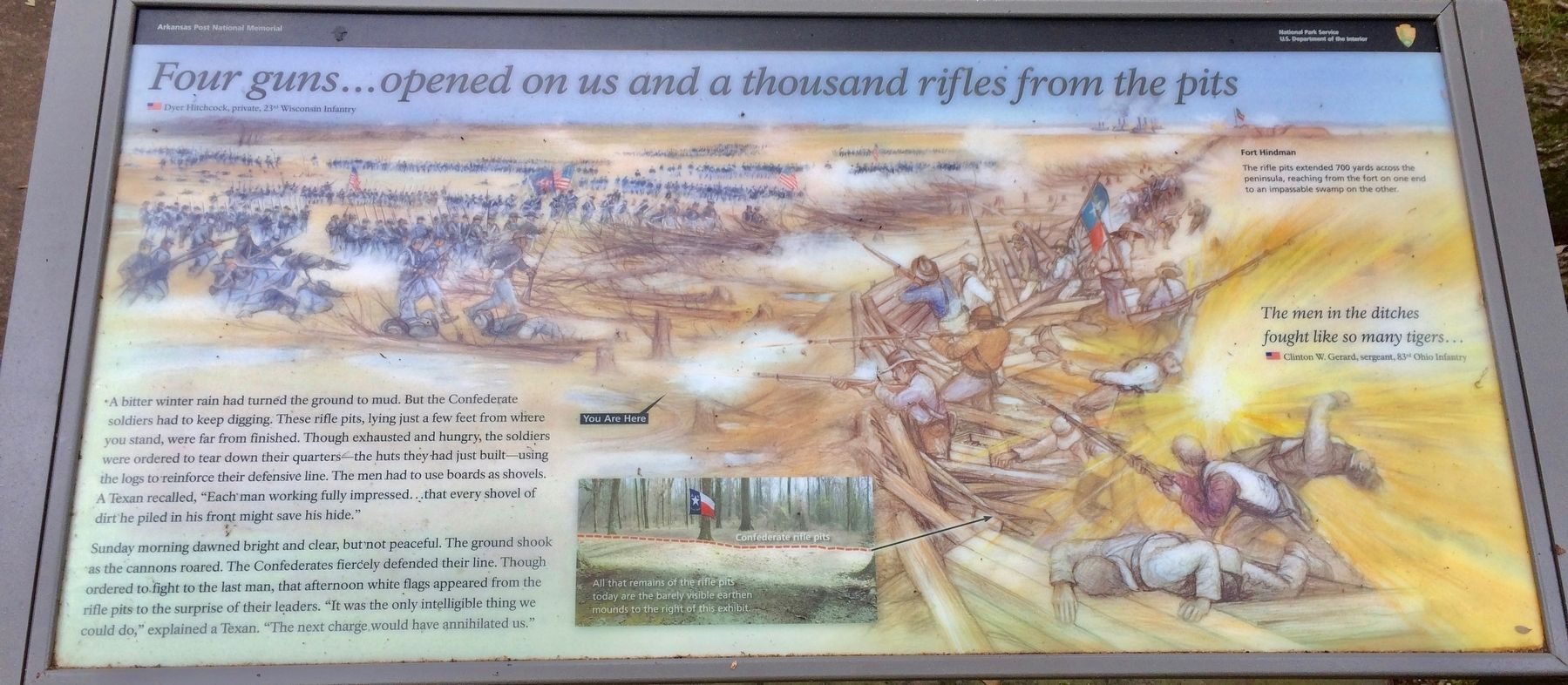 <i>Four guns...opened on us and a thousand rifles from the pits</i> Marker image. Click for full size.