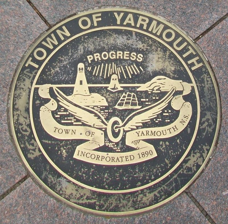 Town of Yarmouth Seal in Pavement in Frost Park image. Click for full size.