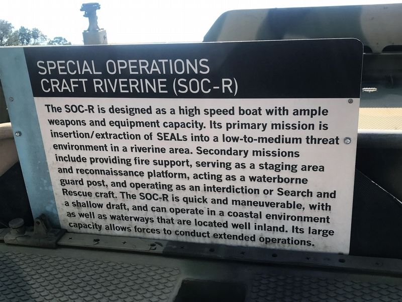 Special Operations Craft Riverine Marker image. Click for full size.
