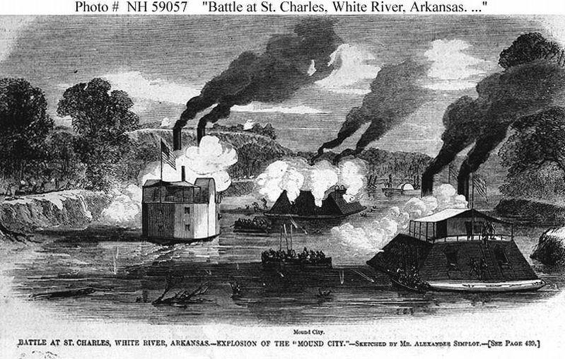 Battle at St. Charles, White River, Arkansas--Explosion of the 'USS Mound City' image. Click for full size.