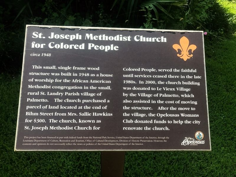 St. Joseph Methodist Church for Colored People Marker image. Click for full size.