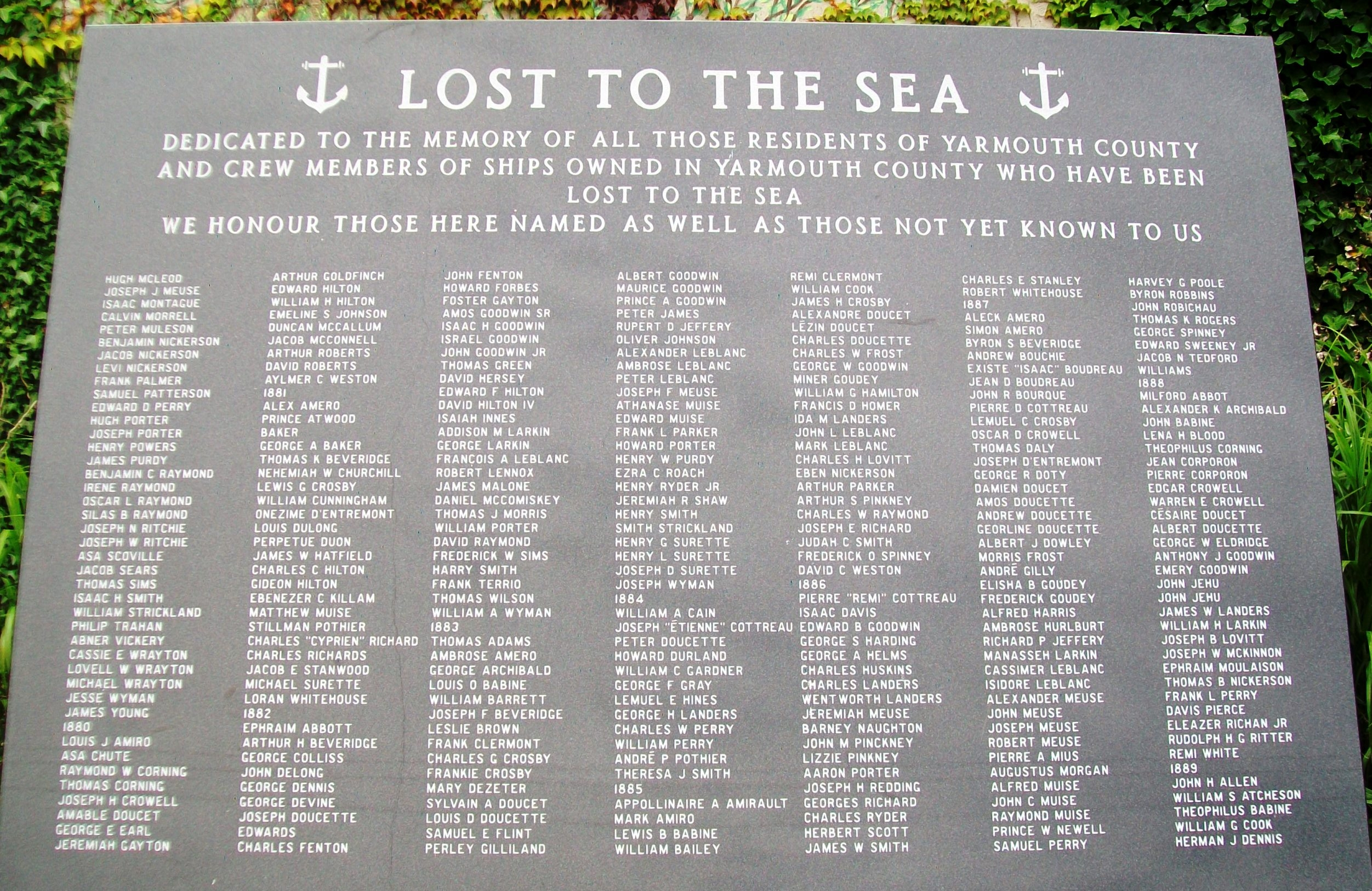 Lost to the Sea Memorial Panel 04